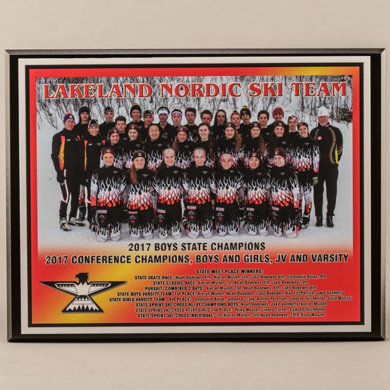 10-1/2 x 13 All Digital Team Photo Plaque for Nordic Skiing State - Conference Championship Plaque