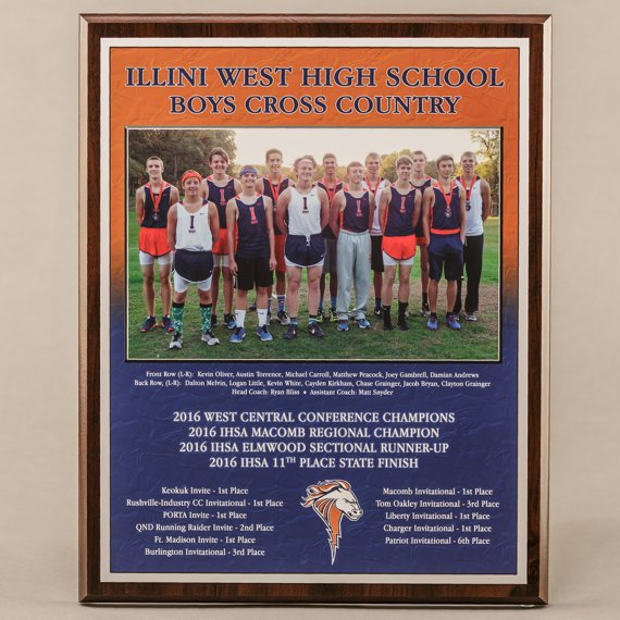 12 x 15 All Digital Team Sport Photo Plaques for Cross Country Champions