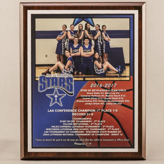 8 x 10 All Digital Team Photo Plaque for Basketball Champions