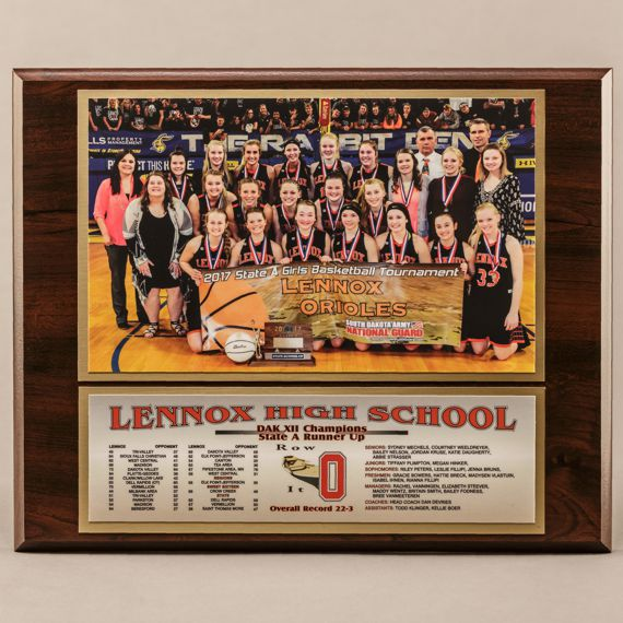 10-1/2 x 13 Classic Team Photo Plaque for Basketball Champions