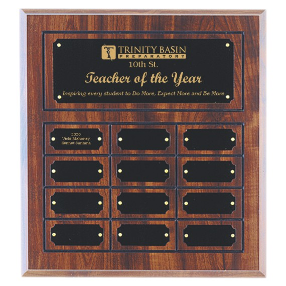 12 Plate Cherry Finish Perpetual Plaque for Teacher of the Year