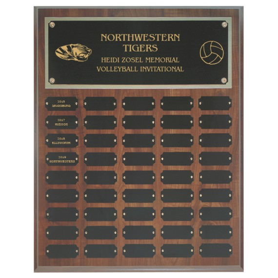 45 Plate Cherry Finish Perpetual Plaque for Football Awards