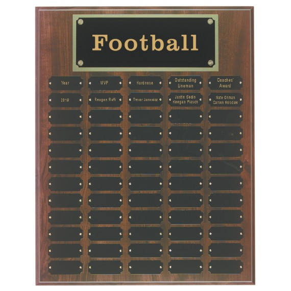 60 Plate Cherry Finish Perpetual Plaque for Football Awards