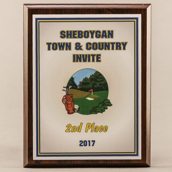 6 x 8 MVP Style Cherry Plaque - 2nd Place Golf Award