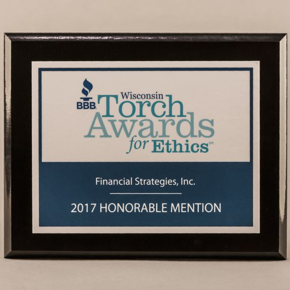 7 x 9 MVP Style Black Plaque - Torch Awards for Ethics
