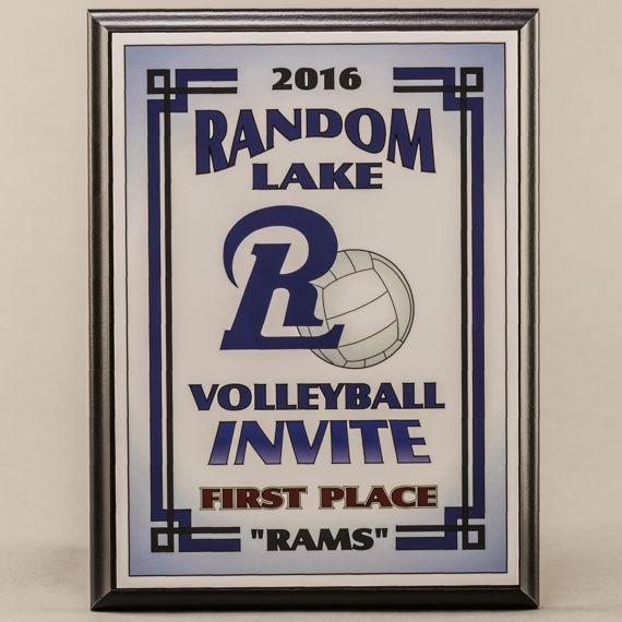 9 x 12 MVP Style Black Plaque - Volleyball First Place Team