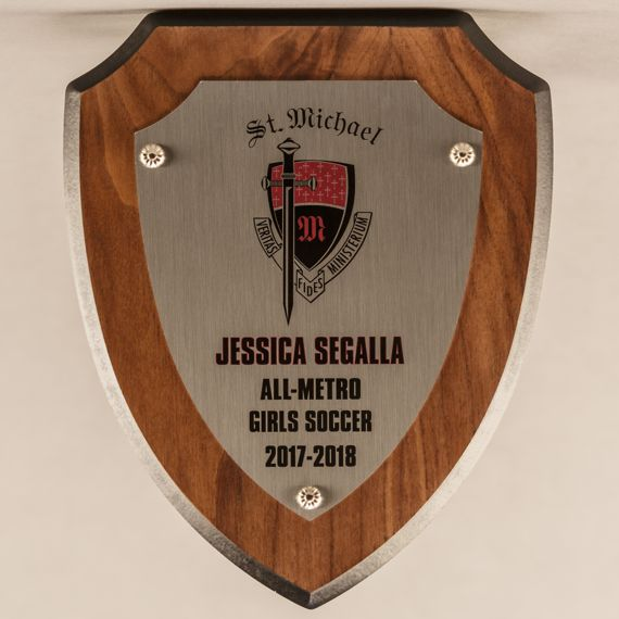 7-1/2 x 9 Silver Shield Plaque. Also available with Gold Plate - All Conference