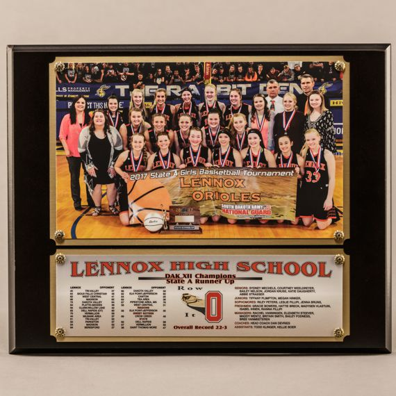 10-1/2 x 13 Traditional Team Photo Plaque with 2 plates for Girls Basketball Champions
