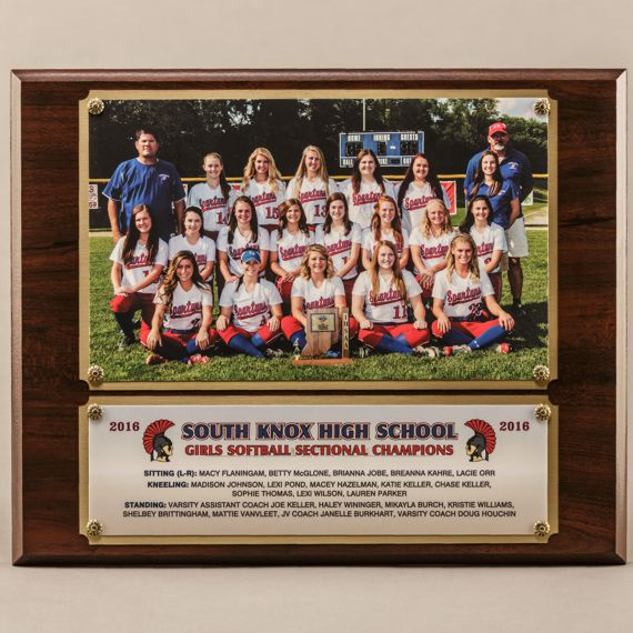 10-1/2 x 13 Traditional Team Photo Plaque with 2 plates for Girls Softball Sectional Champions