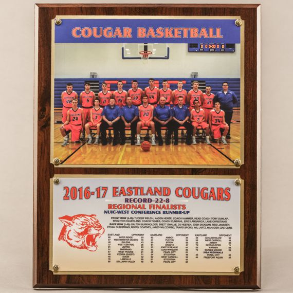12 x 15 Traditional Team Photo Plaque with 2 Plates for Basketball Champions