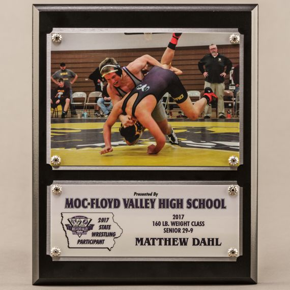 8 x 10 Traditional Team Photo Plaque with 2 plates for a Wrestling Champion