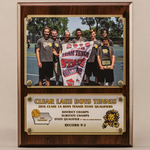 8 x 10 Traditional Team Photo Plaque with 2 plates for Boys Tennis State Qualifiers