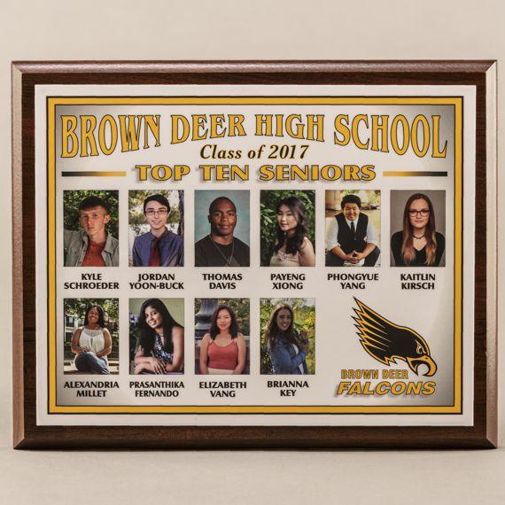 Top Ten Graduation Cherry Plaque for High Class Rank