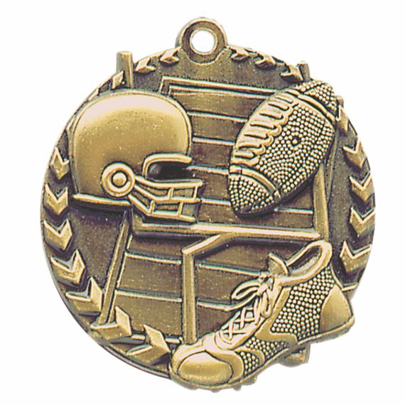 Gold Football Medal - Also Available in Silver and Bronze