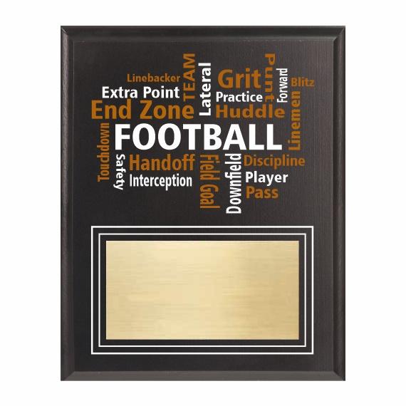 Amazing Competitor series football black plaque