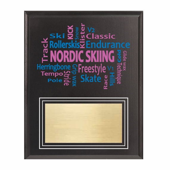 Amazing Competitor series nordic skiing black plaque