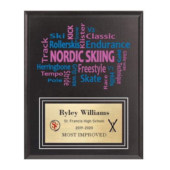 Amazing Competitor series nordic skiing black plaque