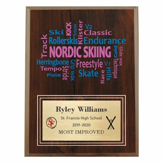 Amazing Competitor series nordic skiing cherry plaque