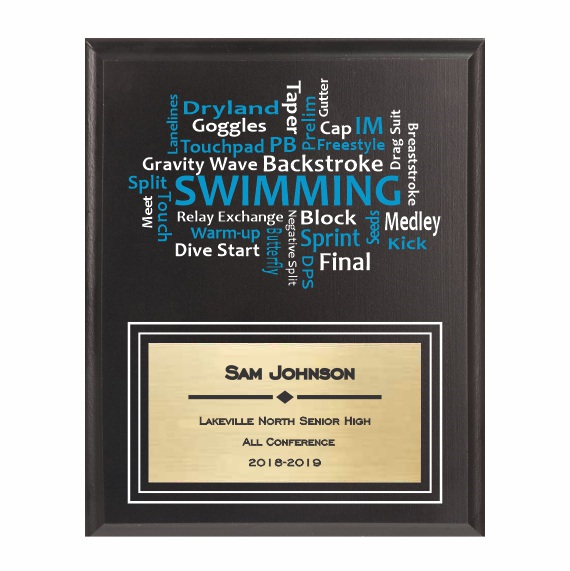 Amazing Competitor series swimming black plaque
