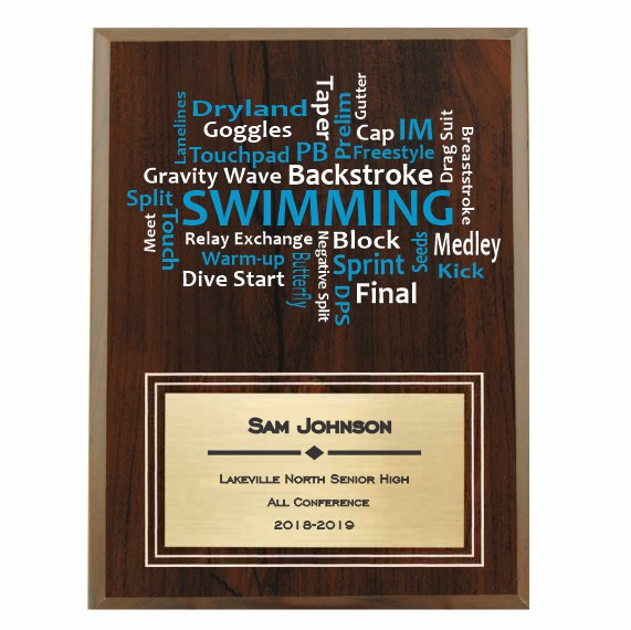 Amazing Competitor series swimming cherry plaque