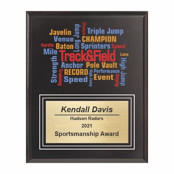 Amazing Competitor Series Track & Field Black Plaque