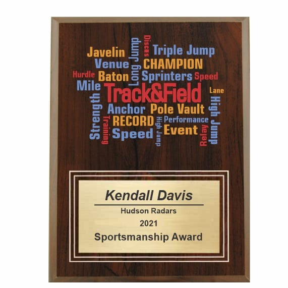 Amazing Competitor series track and field cherry plaque
